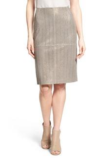 Lafayette 148 New York Laser Cut Lambskin Leather Modern Slim Skirt