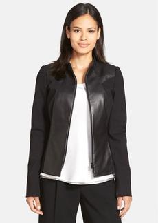 Lafayette 148 New York 'Laura' Lambskin Leather & Ponte Knit Jacket