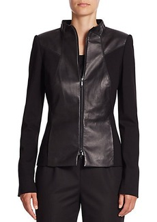 Lafayette 148 New York Laura Leather & Ponte Knit Jacket