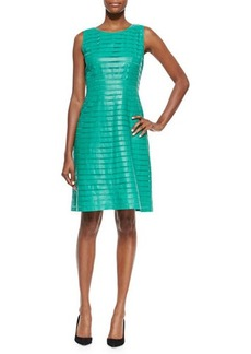 Lafayette 148 New York Laurette Paneled Leather Dress
