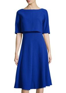 Lafayette 148 New York Layered Half-Sleeve Wool Dress