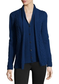 Lafayette 148 New York Layered-Look Cardigan with Cable-Knit Accents  Layered-Look Cardigan with Cable-Knit Accents