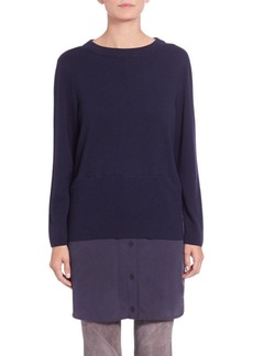 Lafayette 148 New York Layered Silk-Hem Sweater