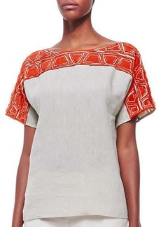 Lafayette 148 New York Layton Short-Sleeve Embroidered Top