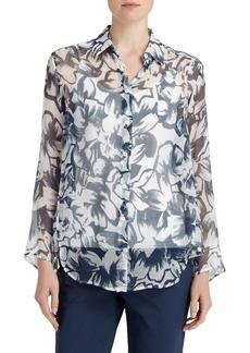 Lafayette 148 New York 'Leanne' Print Sheer Silk Oversize Blouse