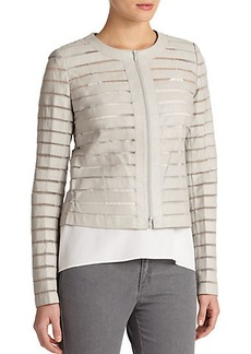 Lafayette 148 New York Leather & Silk Catrice Jacket