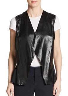 Lafayette 148 New York Leather & Silk Vest