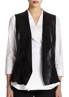 Lafayette 148 New York Leather & Silk Vest