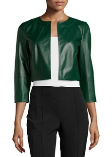 Lafayette 148 New York Leather 3/4-Sleeve Cropped Bolero