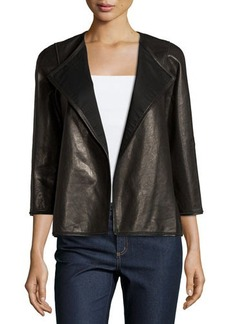 Lafayette 148 New York Leather 3/4-Sleeve Open-Front Jacket