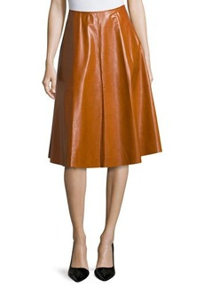 Lafayette 148 New York Leather A-Line Midi Skirt