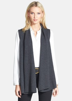 Lafayette 148 New York Leather Back Merino & Cashmere Vest (Plus Size)
