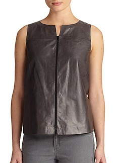 Lafayette 148 New York Leather Back-Pleat Top