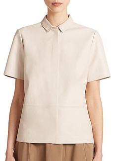 Lafayette 148 New York Leather Blouse