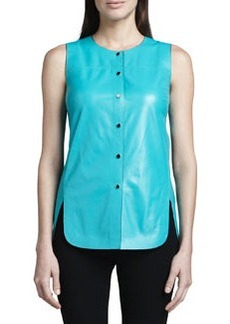 Lafayette 148 New York Leather Curved-Hem Top