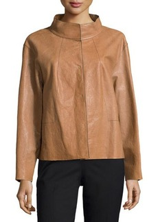 Lafayette 148 New York Leather Funnel-Collar Topper Jacket