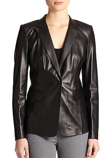 Lafayette 148 New York Leather Lace-Back Jacket