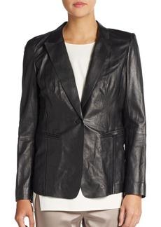 Lafayette 148 New York Leather Lace-Back Jacket