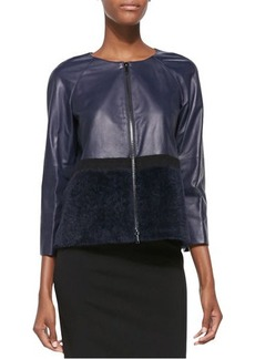 Lafayette 148 New York Leather Needle-Punch Topper Jacket