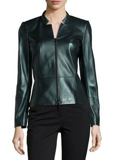 Lafayette 148 New York Leather Notched Zip-Front Jacket