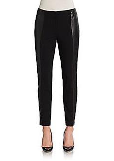 Lafayette 148 New York Leather-Panel Slim Pants