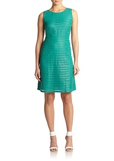 Lafayette 148 New York Leather Paneled Shift Dress