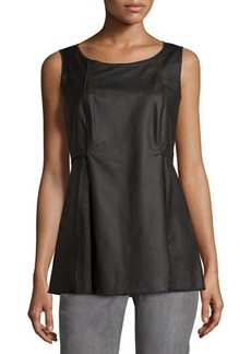 Lafayette 148 New York Leather Sleeveless Scoop-Neck Blouse