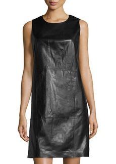 Lafayette 148 New York Leather Sleeveless Shift Dress