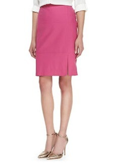 Lafayette 148 New York Leather Slit-Front Skirt, Camellia