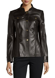 Lafayette 148 New York Leather Snap-Front Military Jacket