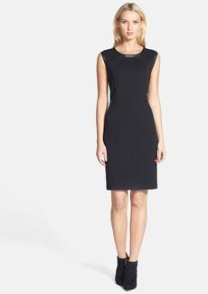Lafayette 148 New York Leather Trim Knit Sheath Dress (Regular & Petite)