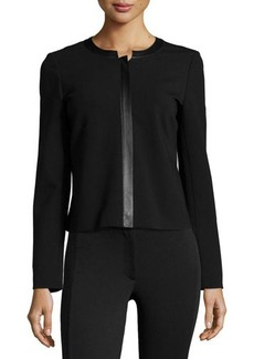 Lafayette 148 New York Leather-Trim Zip-Front Jacket