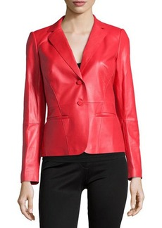 Lafayette 148 New York Leather Two-Button Blazer
