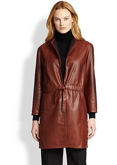 Lafayette 148 New York Leather Vangeline Trench Jacket