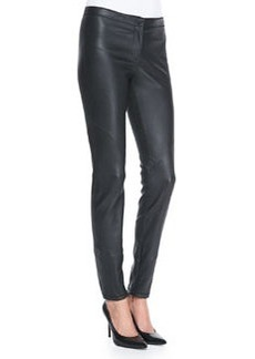 Lafayette 148 New York Leather Zip-Cuff Slim-Leg Pants