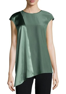 Lafayette 148 New York Lecia Cap-Sleeve Combo Blouse