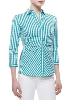 Lafayette 148 New York Leigh 3/4-Sleeve Gingham Blouse