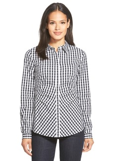 Lafayette 148 New York 'Leigh' Check Print Waist Pleat Blouse