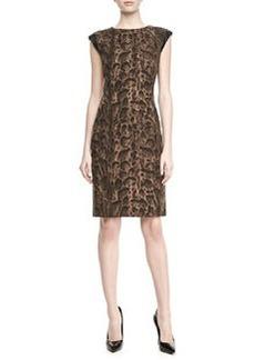 Lafayette 148 New York Leopard-Print Cap-Sleeve Cosette Dress