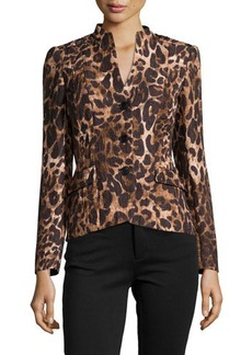 Lafayette 148 New York Leopard-Print High-Low Jacket