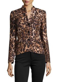 Lafayette 148 New York Leopard-Print High-Low Jacket