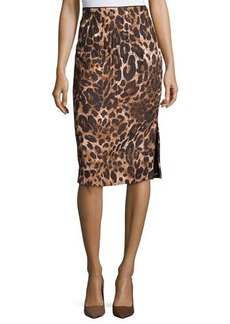 Lafayette 148 New York Leopard-Print Jacquard Pencil Skirt