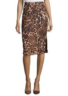 Lafayette 148 New York Leopard-Print Jacquard Pencil Skirt