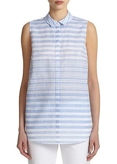 Lafayette 148 New York Linen & Cotton Striped Shirt