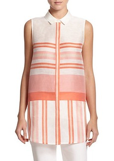 Lafayette 148 New York Linen & Silk Striped Blouse
