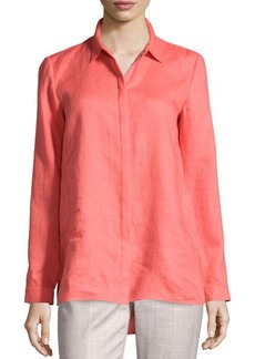 Lafayette 148 New York Linen Concealed-Button High-Low Blouse