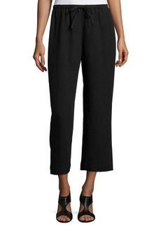 Lafayette 148 New York Linen Cropped Wide-Leg Pants