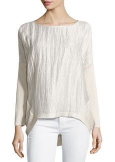 Lafayette 148 New York Linen-Front Ribbed Dolman Sweater, Cream