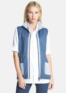 Lafayette 148 New York Linen Trim Knit Vest