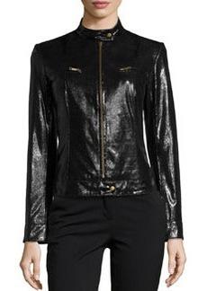 Lafayette 148 New York Lizard-Embossed Glossy Leather Moto Jacket, Black